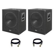 "2x QTX QT15SA 15"" 1200W Powered Active PA Subwoofer Bass Bin Sub Speaker + Leads"