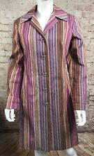 Trina Turk Button Down Long Jacket Pink Purple Striped Size 8