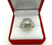 Vintage White Gold with Old Cut Diamond Masonic Eastern Star Ring Size 6