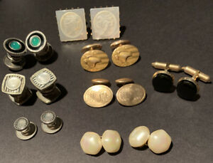 Vintage Cuff Links Lot 8 Pairs Goldtone Silvertone Faux Pearl Men's Accessories