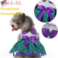 Pet Halloween Clothes Costumes Dog Cats Princess Beauty Dress Skirts Bowknot US