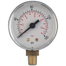 Pressure Gauge 100mm 0 - 4Bar/60psi G3/8bspt Stem