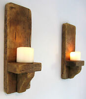 PAIR OF 39CM SHABBY CHIC RUSTIC PLANK WOOD WALL SCONCE CANDLE HOLDERS