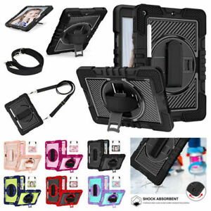 Shockproof Case Rotate Stand Strap Cover For iPad 7th 8th 9th Gen 10.2 inch 2021