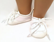 """White Vinyl Tennis Shoes Sneakers made for 18"""" American Girl Doll Clothes"""