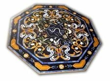 3' Black Marble dining Center Inlay Pietra Dura Table Top Handcrafted Work