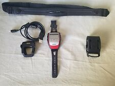 Garmin Forerunner 305 Red GPS Bundle Watch Charger Heart Rate Monitor Bike Mount