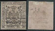 1852 DUCATO DI MODENA USATO AQUILA CON PUNTO 10 CENT - AS1-2