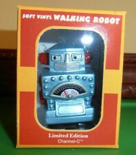 "Diamond Planet Robot White knob WIND UP 3"" Soft Vinyl Walking   New in Box"