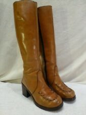 Womens Brown Riding Boots Tall Leather Moc Toe Stitched 6.5M 70's Platforms $530