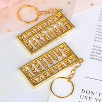 Golden Chinese Accounting Tool 8 Rows Abacus KeyChain Ring Keych Jf