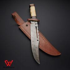 Custom handmade Damascus steel RAMBO BOWIE Hunting Knife With Leather Sheath