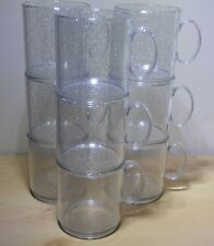 9 x Glittery plastic mugs with handle, ideal for kids parties, strong, non toxic