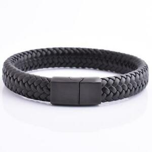 Braided Leather Bracelet For Men Stainless Steel Black Magnetic Clasp Bangle New