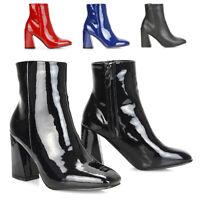 Womens Block Heel Ankle Boots Ladies Flared High Heel Casual Zip Booties Size