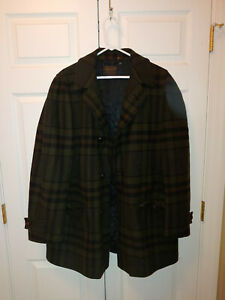 VTG Pendleton Khaki Green Plaid Wool Car Coat Quilted Lining No Size Tag L or XL