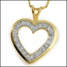 Real Diamond Heart Necklace, 33 Real Diamonds, Gold/Real Sterling Silver, 18""