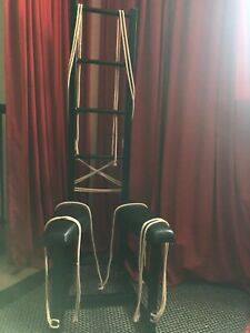 Black metal bdsm chair with measurments and pictures.USED but In great condition