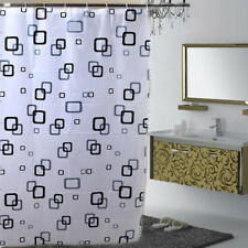 Simple Black White Grid Pattern Waterproof Bathroom Shower Curtain With Hooks