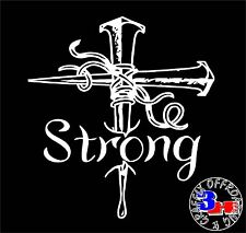 Cross Religious Strong Car Window Vinyl Bumper Sticker Decal