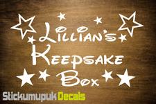 Keepsake Box Personalised Vinyl Name Sticker / Decal, Kids Gift Disney Style
