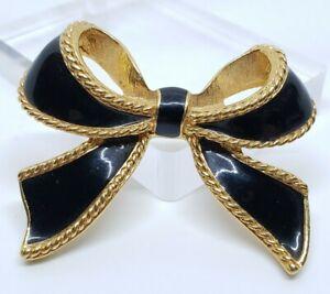 Vintage Kenneth Jay Lane Avon Black Enamel Modernist Black Ribbon Bow Pendant