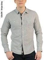 New Soul Star Men's Slim Fit Long Sleeve Shirt S M L XL Stripe Light Grey Blue