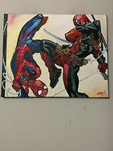 "Spider-Man Vs Deadpool Comic 30""X24"" Pop Art Painting Chris Cargill"