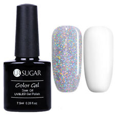 2 Pcs Nail UV Gel Polish Holographic Silver Sequins White Soak Off Kit UR SUGAR