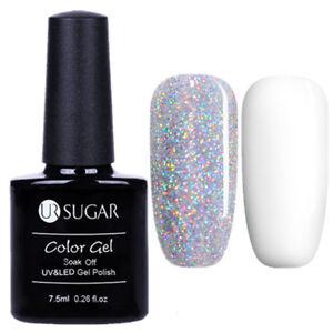2 Pcs Nail UV Gel Polish Holographicssss Silver Sequins White  Soak Off UR SUGAR