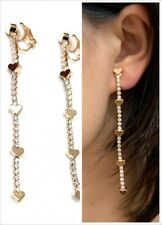 High Quality Zircon Crystal Heart Drop Long Dangle Liquid Clip On Party Earrings