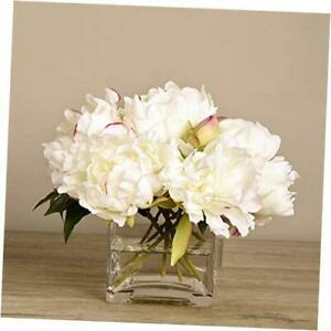 Artificial Glass Potted White Hydrangea Peony Flower Arrangement, Trendy Luxury