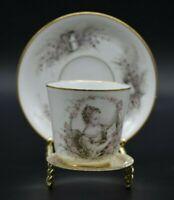 Boyer Old Paris French porcelain Hand Painted Portrait Lady Tea Cup & Saucer d