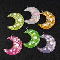 10PC Mixed Color 3D Glitter Crescent Moon&Star Resin Charm Pendant DIY Craft