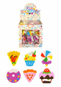 6 Sweet Shop Cake Food Erasers Rubbers Girls Party Bag Fillers Stationery