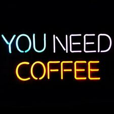 "New You Need Coffee Neon Sign 17""x14"" Artwork Glass Lamp Bar Cafe Open Light"