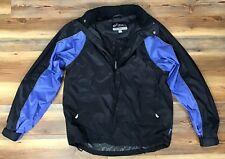 Vintage ASICS BLUE Full Zip Windbreaker Jacket Hooded Size M 90s Hip Hop Rap