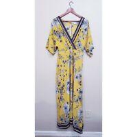 Sage & Vicky Yellow Floral Vneck Boho Summer Maxi Short Sleve Dress Size Large