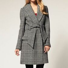 Karen Millen Black White Check Wrap Wool Trench Coat Jacket Size 10 RRP £350