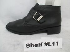 Etienne Aigner Black Leather Slip On Buckle Ankle Boots Womens Size 8.5 M 15146