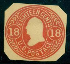 US #U70 18¢ red on buff, unused, octagonal cut Scott $100.00