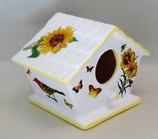 Handmade Ceramic Decoupage Birdhouse, Sunflowers, Butterflies, Birds