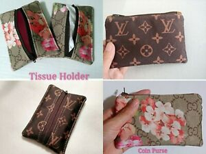 Handmade Soft Zippered Tissue Holder Brown Or Pink With Nylon Cloth Fabric