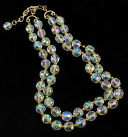 """ANTIQUE DECO 9.5MM AB SUPER FACETED DBL STRAND CHAIN CRYSTAL NECKLACE 14.5-16.5"""""""
