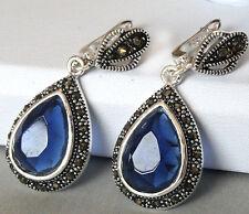 """925 STERLING SILVER DROP BLUE FACETED ZIRCON EARRINGS 1 1/2"""" JEWELRY"""