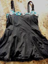 ladies 1 PC IT FIGURES! SWIM DRESS swimsuit BLACK floral SKIRT medium SIZE 8 euc