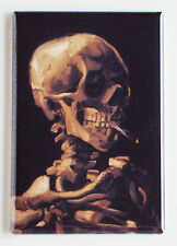 Skull with Burning Cigarette FRIDGE MAGNET (2.5 x 3.5 inches) van gogh smoking