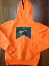 Boys Nike Size Small 8-10 Hoodie Orange with Camo Therma fit