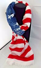 American flag scarf red white faded blue July 4th USA stars stripes Look by M