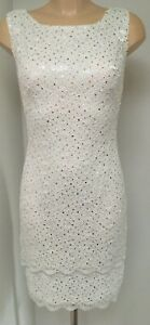 Ladies White Dress With Silver Subtle  Sequins - Sizes 8-10/10-12